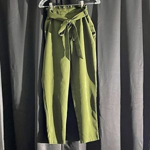 Peach womens green trousers elastic stretchy waist band with tie size small